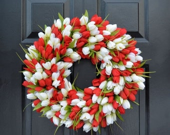 SUMMER WREATH SALE Spring Wreath- Tulip Spring Wreath- Valentine's Day Wreath- Red and White Valentine Decor