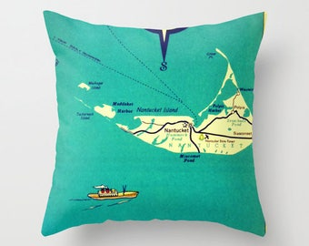 Vintage Map of Martha's Vineyard or Nantucket Pillow Cover, 18x18 Aqua