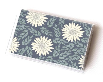 NEW Handmade Vinyl Card Holder - Daisy Blue  / card case, vinyl wallet, women's wallet, small wallet, pretty, floral, flowery, gift, daisies