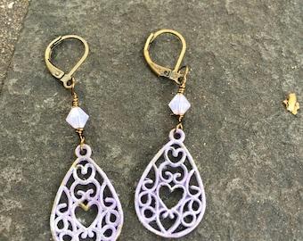 Lavender  Filigree  Heart Teardrop Earrings  Bohemian Jewelry  Shabby Chic Earrings  Gift for Her  Patina Filigree Earrings  Wedding Jewelry