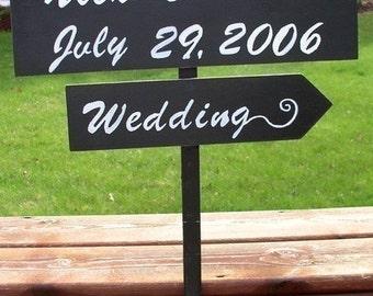 Wedding sign, directional sign, wedding photo prop, wedding arrow, beach wedding, outdoor wedding, personalized sign, wedding decor