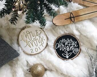 Embossed Wood Slice Christmas Ornament   Custom Ornament   Personalized Ornament   Pine Wood