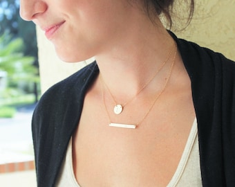 Personalized Necklace, Layered Necklace Set, Layering Necklace, Gift for Her, Skinny Bar Necklace & Initial Necklace in Silver, Rose or Gold