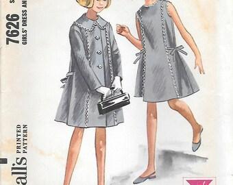 McCalls 7626 UNCUT Helen Lee designed Girls Dress and Coat Vintage Sewing Pattern Size 7