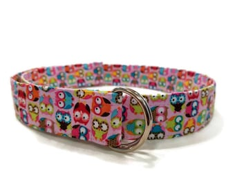 Girls' Multicolor Owl Print Fabric Belt