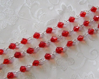 """One Meter 39.5"""" Faceted Red Bicone Glass 6mm Beaded Rosary Chain Bright Silver 967"""