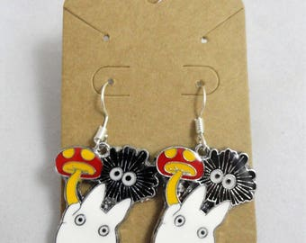 White Totoro & Soot Sprite Dangle Earrings My Neighbor Totoro Anime Jewelry