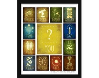 Inspire Science 24x30 Art Print - Rock Star Scientists Educational Teaching Poster, Inspirational School Art