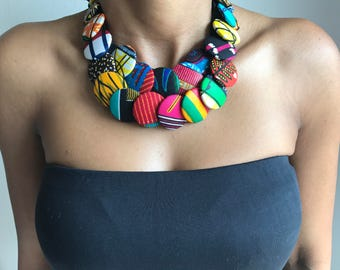 Multicolored African fabric button necklace