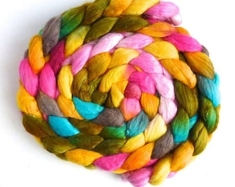 Lantana and Petunias, Polwarth/Silk Roving - Handpainted Spinning or Felting Fiber