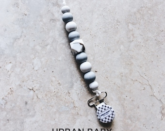 Pacifier Clip, Silicone Pacifier Clip, Teether, Silicone Beads, Food Grade, Chewelry, Mia, Marble, Gray, White