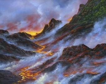Robert Thomas Giclee -Birth of an Island Volcano - Hawaiian Island - Lava Flow