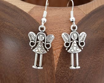 Earrings antique silver Angel, clip antique silver Angel
