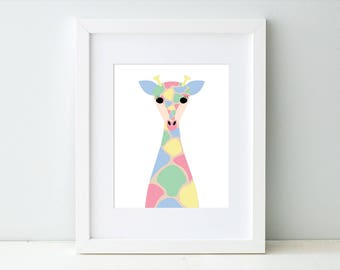 Nursery Giraffe Art Print, Pastel Giraffe Artwork, Pastel Baby Giraffe Art, Baby Girl Art, Giraffe Nursery Theme, Giraffe Nursery Decor