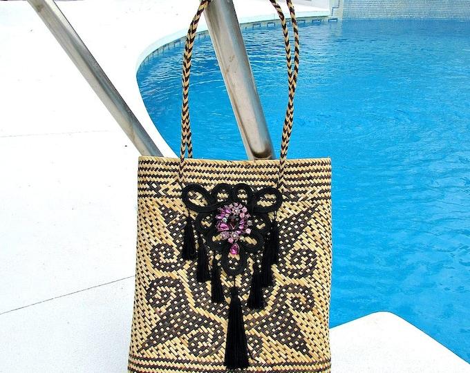 Natural fibre shoulder bag  Handwoven rattan shoulder bag  Borneo straw bag  Handmade Anjat tribal bag  Straw woven sholder basket