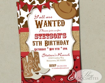 Blue Cowboy Party Invitation Birthday or Baby Shower