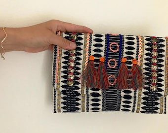 boho CLUTCH navy,woven with multi colors, crossbody PURSE, colorful. Handmade