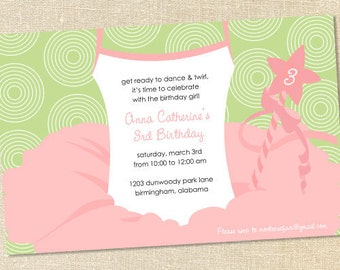 Sweet Wishes Ballet Recital Ballerina Party Invitations - PRINTED - Digital File Also Available