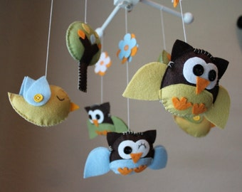"""Baby Crib Mobile - Baby Mobile - Birds Owls Mobile - Baby Nursery Mobile """"Little Creatures Looking Down on You""""(You can pick your colors)"""