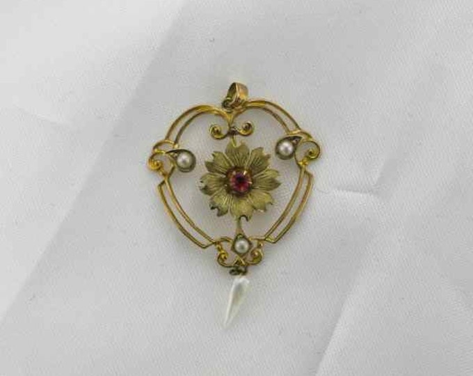 Yellow Gold Synthetic Ruby and Seed Pearl Pendant in Floral Design, Antique Pendant, Synthetic Ruby Pendant, Antique Synthetic Ruby Pendant