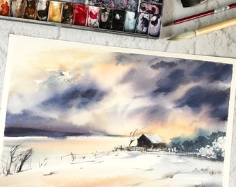 Abstract Winter Landscape Original Watercolor Painting, abstract realism snowy nature and old barn painting