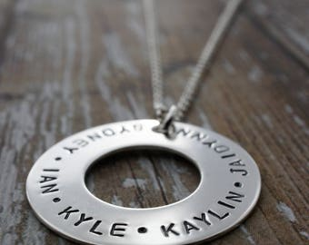 Grandmother's Eternity Necklace for Mother's Day - Sterling Silver Washer Style Pendant w/ Children's Names - Gifts for Grandma