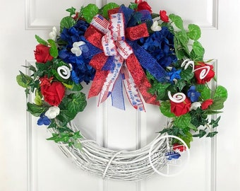Patriotic Wreath, Summer Wreath, 4th of July Wreath, Wreath Street Floral, Grapevine Wreath, Front Door Wreath, Red White Blue Wreath