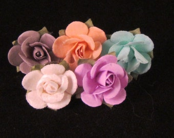 Set of (5) Paper Rose Lapel Pin - Pastel Collection - X-Small - Everyday / Weddings / Proms