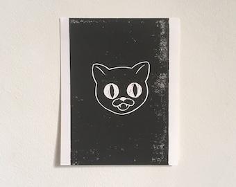 Black Cat Lino Print