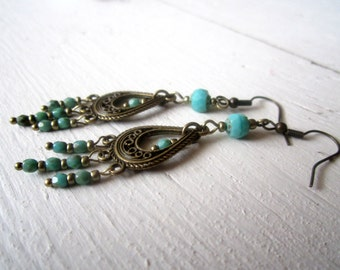 Turquoise Bohemian Chandelier Earrings with Czech Glass and Antique Brass