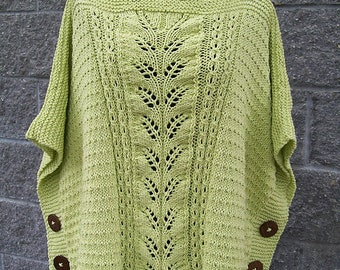 Spring Poncho Cotton Poncho Knitted Poncho Womens Poncho Summer Poncho Green Poncho Hand Knit Poncho Crochet Poncho Knit Poncho Gift For Her