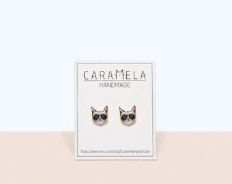 Cat stud earrings Cat Jewelry Cat studs earrings Siamese cat Grumpy Cat Gift Idea
