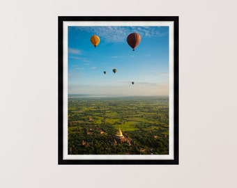 Hot Air Balloons Over Temples Of Bagan, Burma, Myanmar, Photography Print, Wall Art, Home Decor