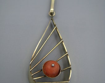 Pendant, modernist, gold on silver, 900, with blood coral