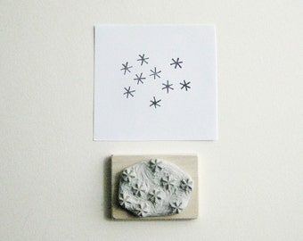 Star Cluster Hand-Carved Rubber Stamp