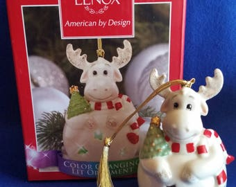 Lenox Moose Color Changing Lit Ornament/Lenox Moose Christmas Ornament/Lenox Color Changing Lit Ornament Collection/Moose Ornament