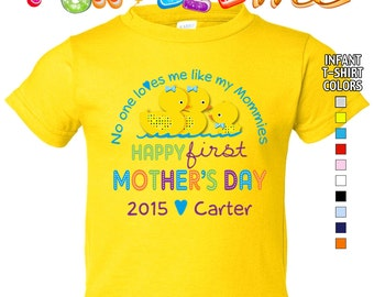 Happy First Mother's Day T-Shirt - No One Loves me Like my Mommies - Boys - infant - Personalized w/Name & Year (Gay / Lesbian / 2 Mommies)