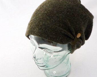 Dark Olive Green Wool Slouchy Hat : Womens Hats, Boho Hat, Green Beanie, Olive Wool, Gift 4 Her, Slouch Hat, Cozy Hat, Fall Hat, Winter Hat