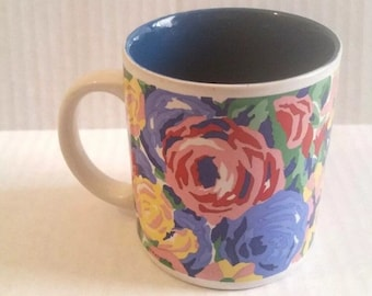 Vintage KIC Coffee Mug Hand Painted Ceramic Art by Franco Multi Color Floral Colorful Cup Drinkware Kitchen Tea
