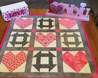 Valentine Decor, Valentine Table Runner, Quilted Valentine Table Topper, Heart Table Topper, Pink and Gray  Table Topper