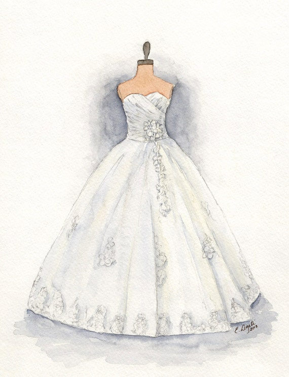 watercolor wedding dress custom wedding dress painting dress dress drawing 8368