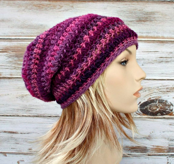 Crochet Hat Womens Hat - Penelope Puff Stitch Slouchy Beanie Hat in Petunia Pink Purple Crochet Hat - Womens Accessories Winter Hat