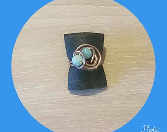 Blue with Brown Adjustable ring