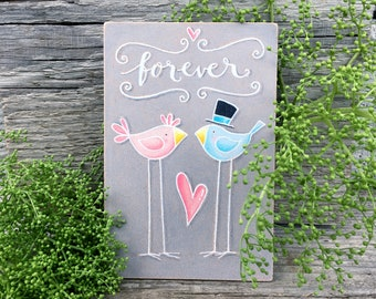 Lovebirds Wall Hanging - Small Wedding Gift Idea - Forever Sign - House Warming Gift - Rustic Home Decor - Gift for Couple - Newlywed Sign