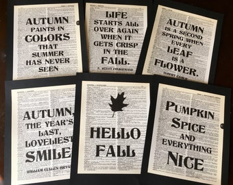 Fall Autumn Harvest Decorations Dictionary Quote Set Decoration Set of 6