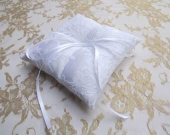 White wedding ring pillow. White satin ring bearer. White floral lace cushion ring.