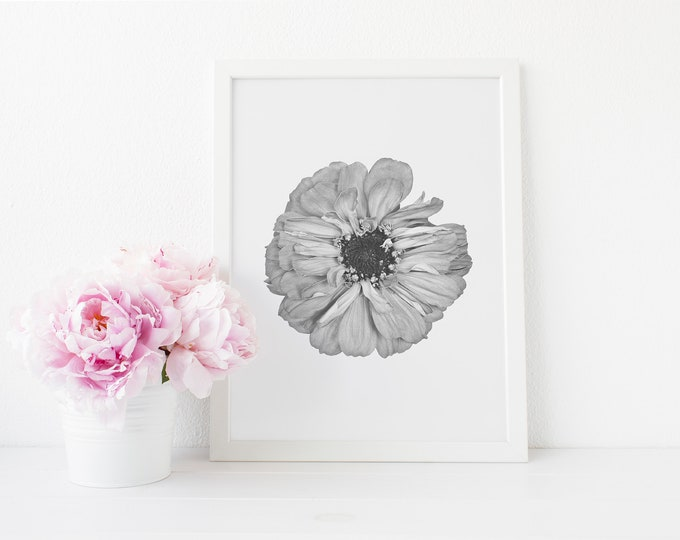 Floral black and white flower print instant download printable art mightylinksfo