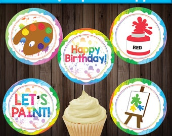 INSTANT Download Art Party Cupcake Toppers, Art Party Printables, Dress for a Mess, Art Party Decorations, Art Party Birthday, Rainbow Party