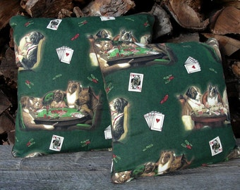 """Dogs Playing Poker Pillow 14 or 16""""- C.W.Coolidge Print Throw Pillow or Cushion Cover Piping Trim - Den Man Cave Bar Novelty Home Decor Gift"""