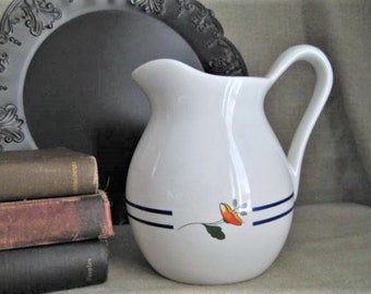 WHITE PITCHER With Orange Flower & Blue Bands / Vintage White Pitcher with Floral Design / Pretty Vintage Pitcher